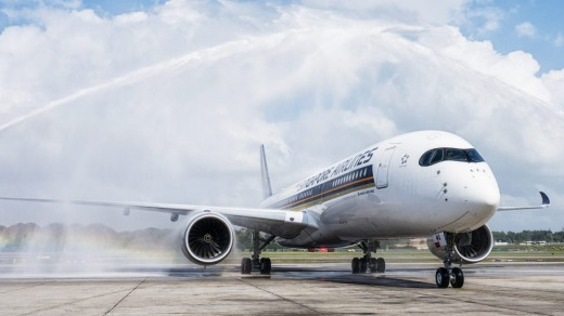 Singapore Airlines has flown a new Airbus A350 into Melbourne Airport.
