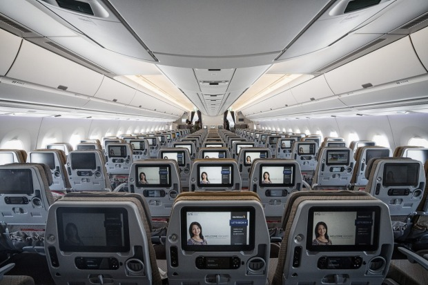 Tthe economy class cabin of a Singapore Airlines A350.
