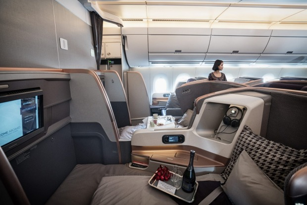 The business class cabin of a Singapore Airlines A350.