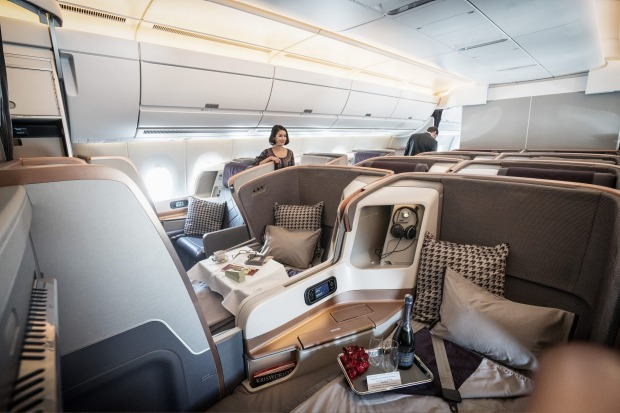 THE BEST OF BUSINESS CLASS: Singapore Airlines business class cabin on an A350 aircraft.