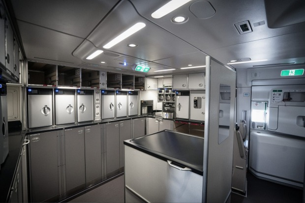 The galley at the rear of a Singapore Airlines Airbus A350.