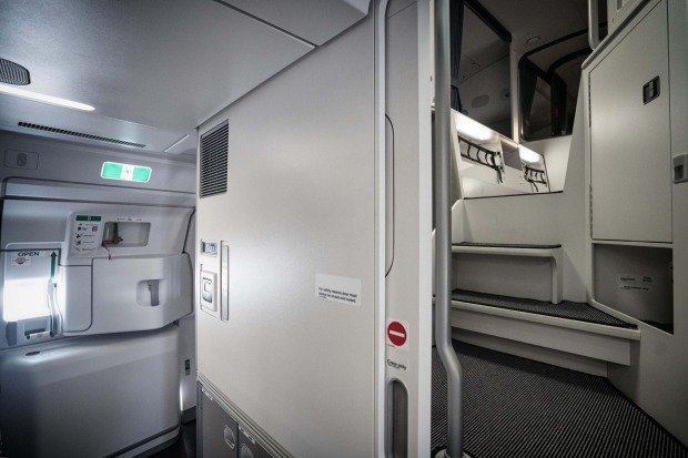 The entrance to the crew rest area on board the Airbus A350.