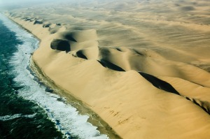 Aerial view of Skeleton Coast in Namibia