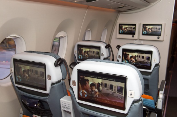 The premium economy cabin of Singapore Airlines' Airbus A350.