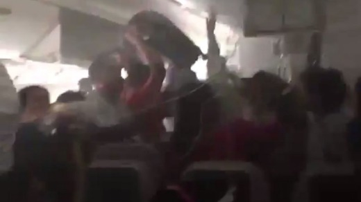 Images posted on social media in 2016 showed passengers scrambling to get their luggage from overhead compartments while ...