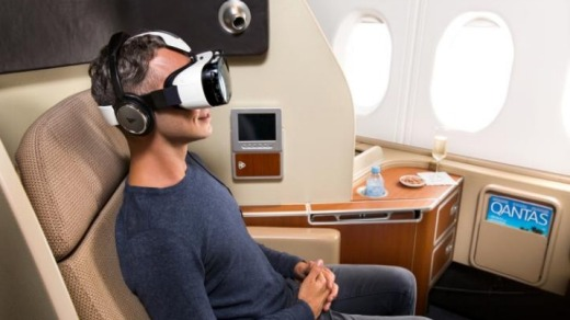 Qantas made virtual reality headsets available for in-flight use to some of its premium passengers.