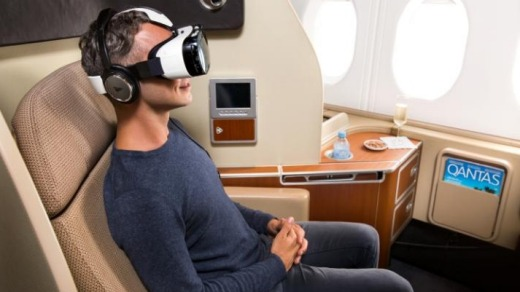 Qantas has experimented with virtual reality headsets for passengers.