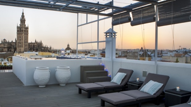The rooftop: Aire Banos Arabes bathhouse, Seville, Spain.