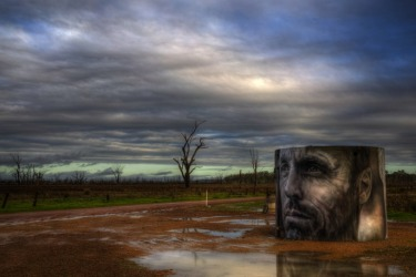 This is the water tank in the heart of Winton Wetlands that Guido Van Helton painted earlier this year as part of the ...