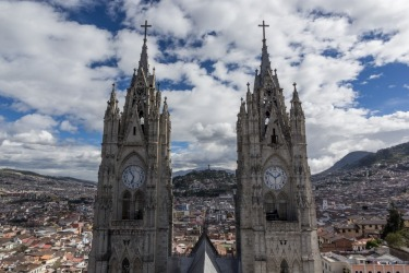 A climb to the roof of the Basilica of the National Vow in Quito, Ecuador provides spectacular views of the towers and ...