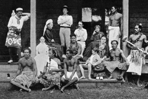 Robert Louis Stevenson and household at Samoa. Stevenson (in white) is seated centre, next to his mother, in profile, ...