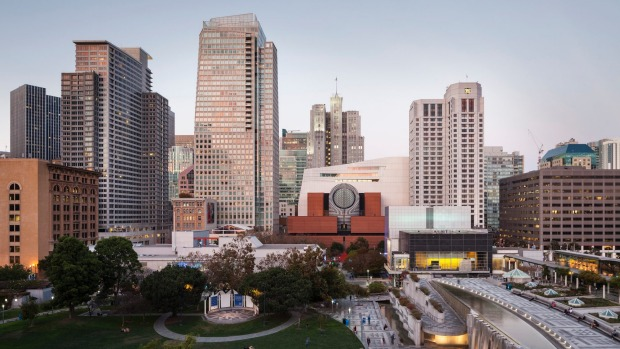 View of the expanded San Francisco Museum of Modern Art from the Yerba Buena Gardens.