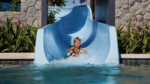 The twisting slide at the  Outrigger Laguna Phuket Beach Resort.