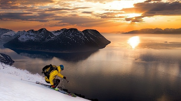 Skiing at Lyngen Lodge, Norway.
