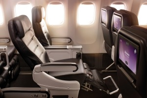 Air New Zealand 777-200 premium economy: extra room all round.