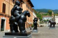 Sculptures by artist Fernando Botero on display in the central square of Pietrasanta Tuscany, Italy.
