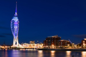 Spinnaker Tower at Portsmouth by night.