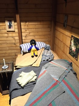 The sleeping quarters in Mawson's Huts Replica Museum: Mawson's bed.