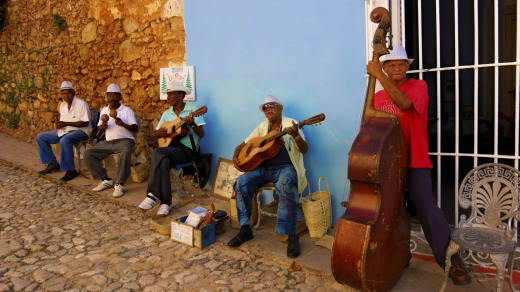 A street band playing salsa in the streets of historic Trinidad.