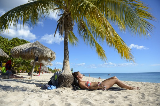 Playa Ancon is located several kilometers outside the colonial town of Trinidad, Cuba.