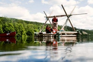 Timber-rafting in Sweden's Varmland province.