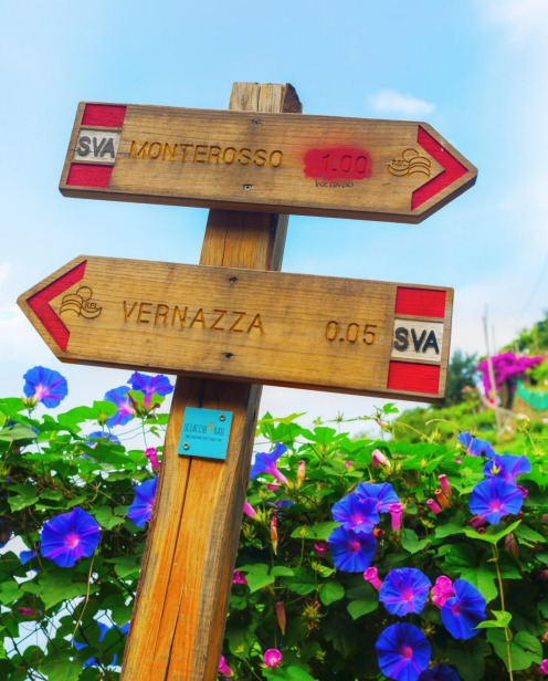 A sign on the coastal hiking trail in Vernazza, Italy.