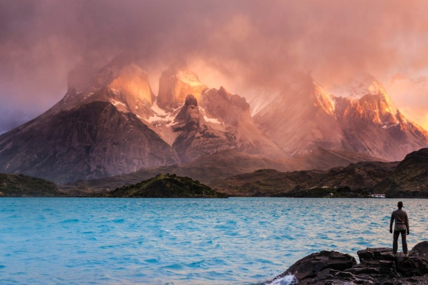 Cuernos del Paine peaks and Lake Pehoe, Torres del Paine National Park (UNESCO Site), Patagonia, Chile.