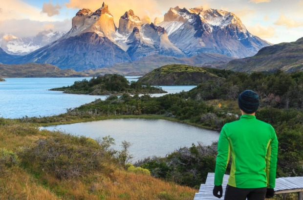Lake Peohe, Patagonia, Torres del Paine National Park (UNESCO Site) in  Chile.