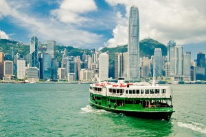 Star ferry over Victoria Harbor in Hong Kong.