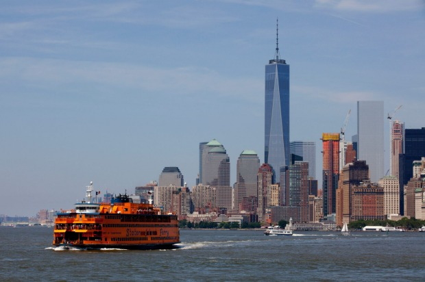 Staten Island Ferry on the East River, leaving lower Manhattan in New York City.
