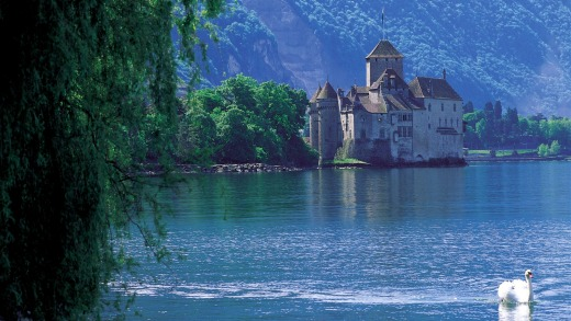Chillon Castle near Montreux on the shores of Lake Geneva, Switzerland's most famous fortification.