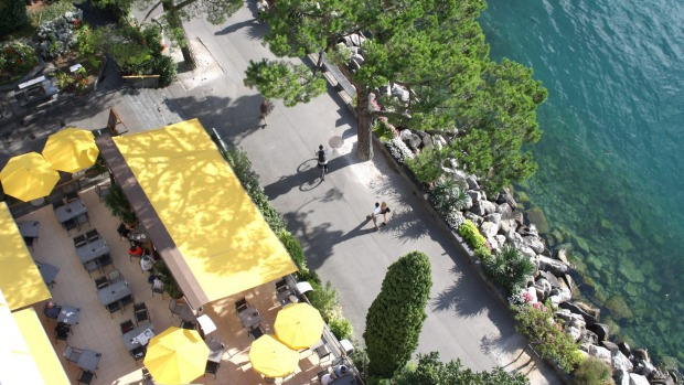 View over Montreux's promenade along Lake Geneva from the Eurotel Montreux.