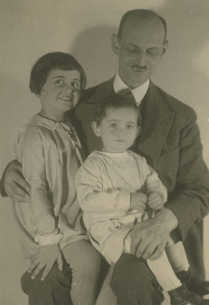 Otto Frank with his daughters - a young Anne and Margot.