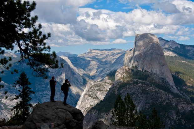 Yosemite National Park from Glacier Point overlook with Half Dome at right.