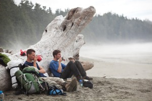 Walkers take a break along the West Coast Trail, British Columbia.
