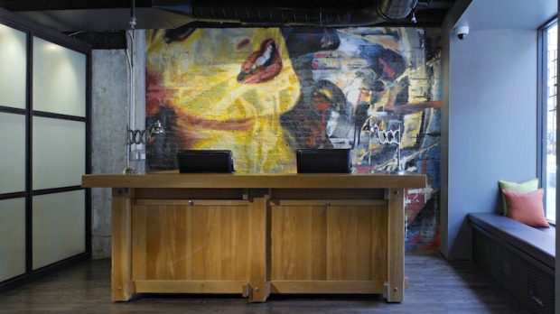 The Acme Hotel in Chicago is a boutique hotel with a funky rock 'n roll edge.