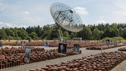 Former concentration camp kamp Westerbork with the radio observatory on the background in the Netherlands.