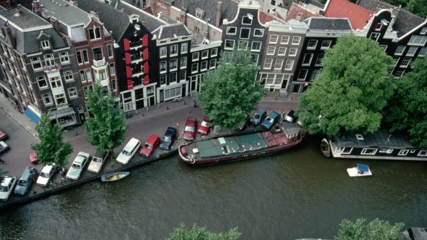 An aerial view of canal houses near the Anne Frank House and the Westerkerk.