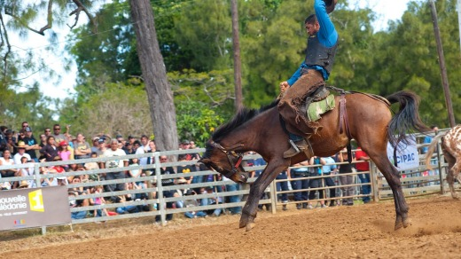A rodeo is a popular part of the three-day fair, Foire de Bourail.