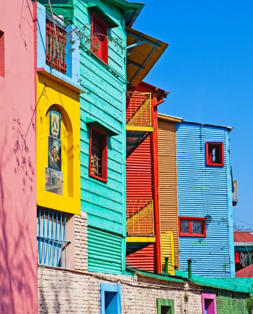 Brightly painted houses in La Boca, Buenos Aires, Argentina.