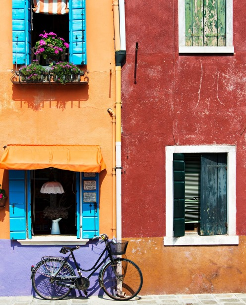 Colored houses on the island of Burano, Venice,  Italy.