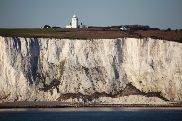 South Foreland Lighthouse on top of the white cliffs at Dover, Kent, England.