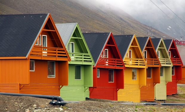 Houses in Longyearbyen, Spitsbergen Island, Norway.