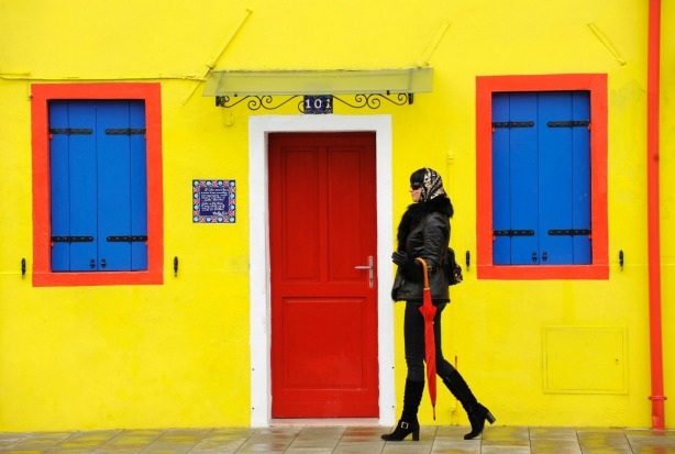 Style and colour on Burano, an archipelago of four islands linked by bridges  in the Venetian lagoon, Italy.