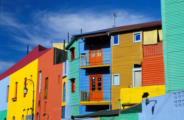 Multicoloured houses in La Boca Quarter, Buenos Aires, Argentina.