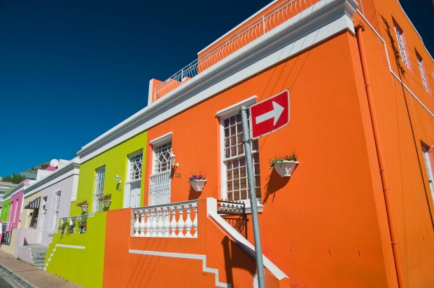 Brightly coloured houses in Bo-Kaap area of Cape Town.