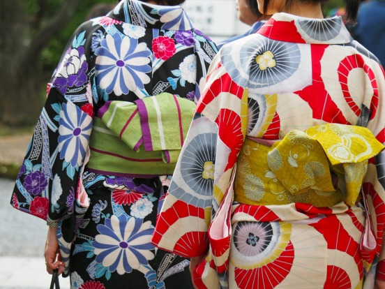 Women dressed in Kimonos in Japan.