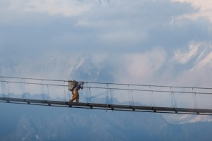 Callie Chee's winning photo of a suspension bridge in Nepal.