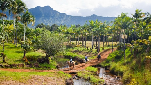 Horse riding in the centre of Kauai in Hawaii.
