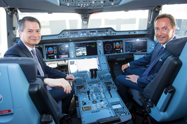 Charamporn Jotikasthira, Thai Airways International's president and Fabrice Bregier, Airbus president and CEO in the ...